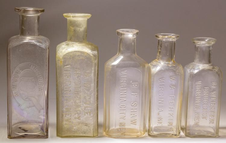 Five comstock drug store bottles cole shaw webster and p for Decor containers coles