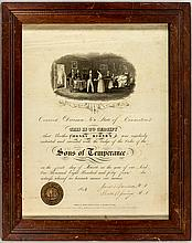 Sons of Temperance Certificate