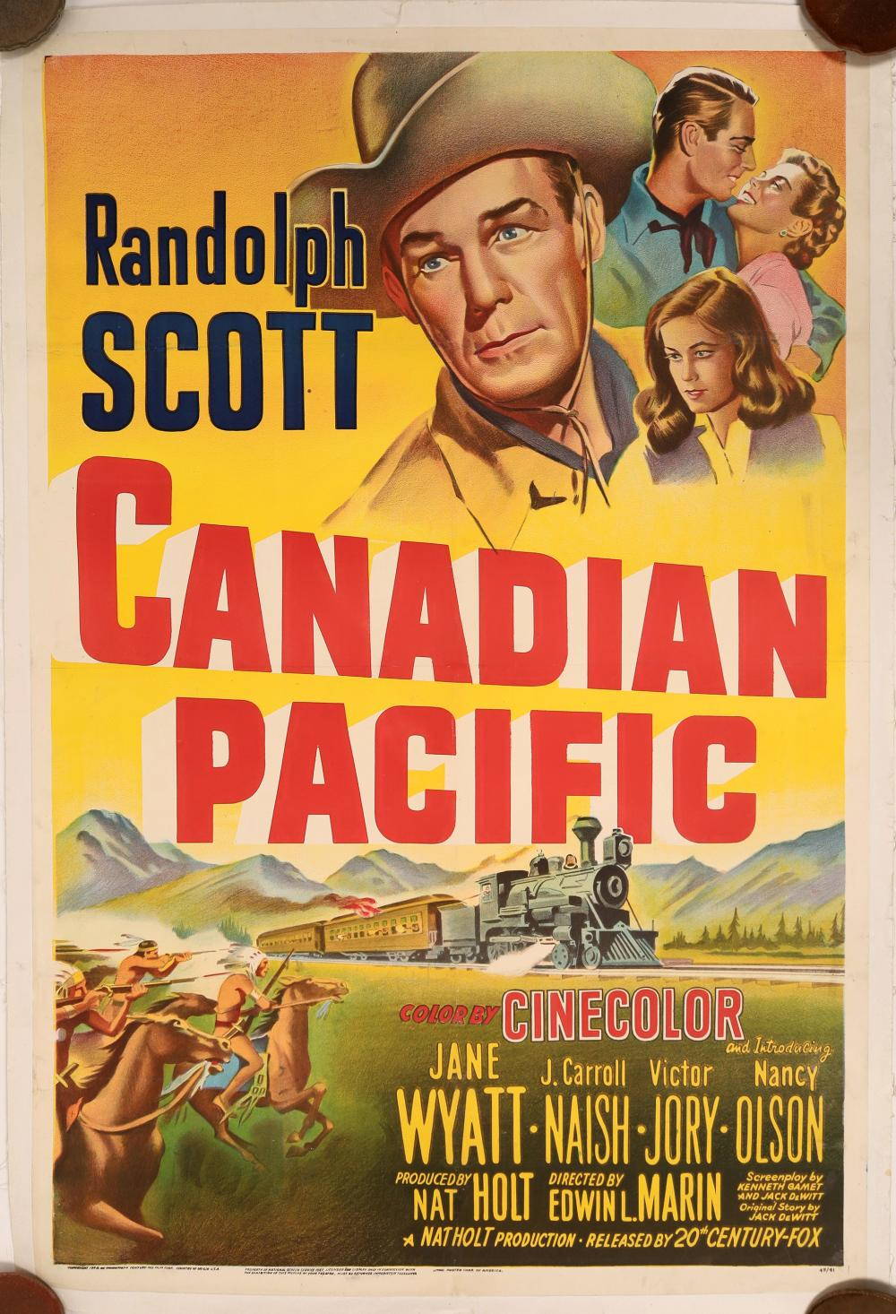 Canadian Pacific Movie Poster 1948 with Randolph Scott [139730]