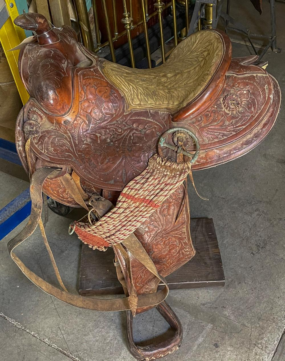 Western Tooled Saddle w/Padded Seat - Small [124495]