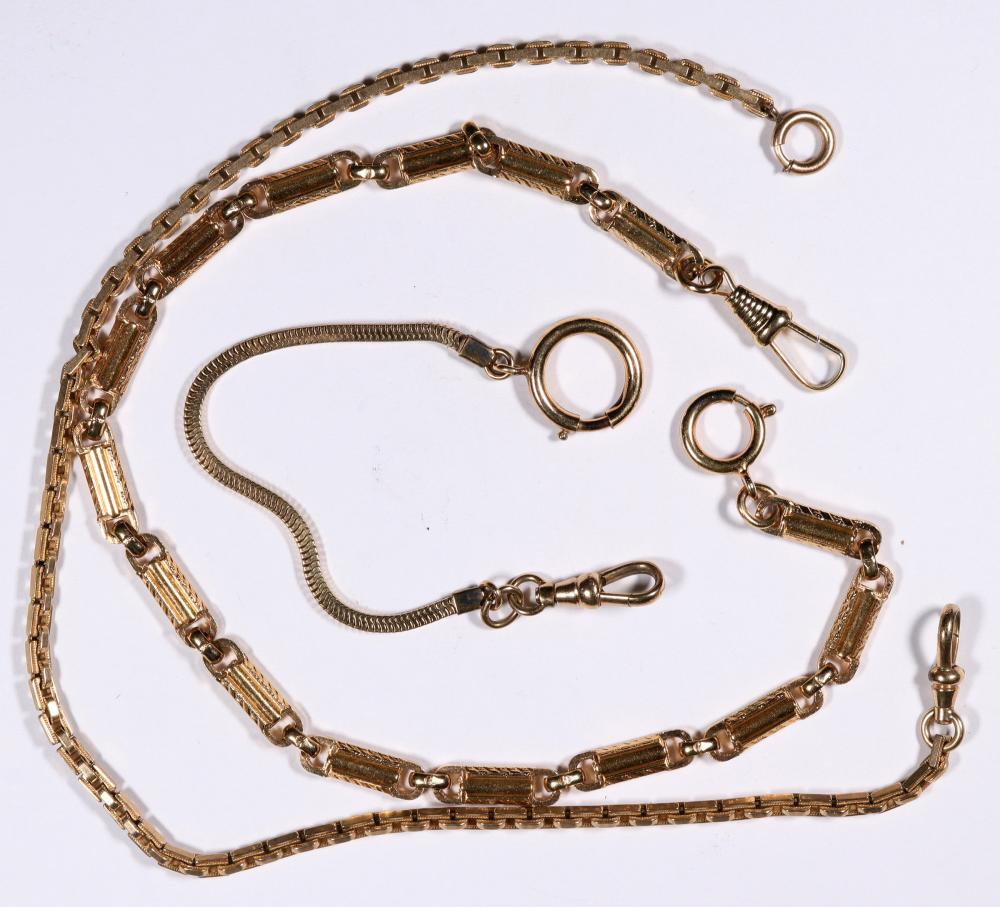 Antique Watch Chains, two gold-plated, one ~10K [136554]