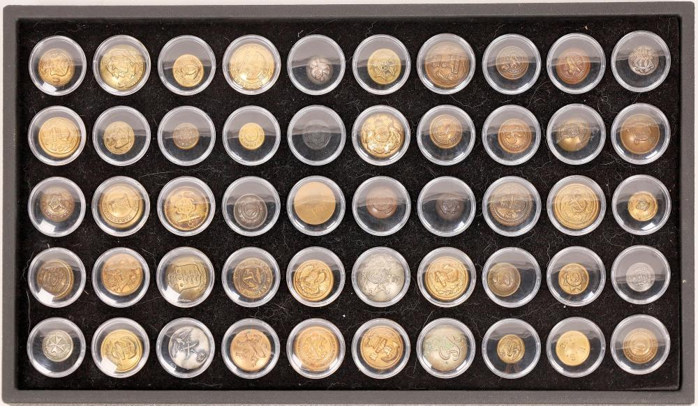Historical Die Struck Military Button Collection, 50 Different [141134]