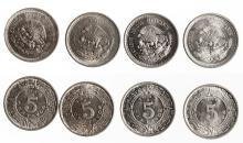 Quartet of Five centavo Mexican Coins