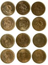 Six 10 centavo Mexican coins