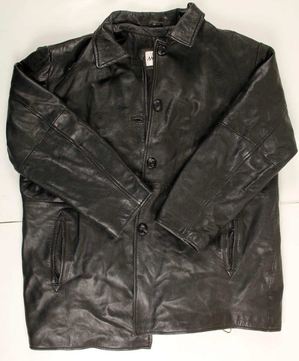 Men's Black Leather Car Coat   (76233)
