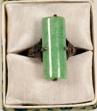 Lot 1020: Jade Ring / In Silver mounting (105397)