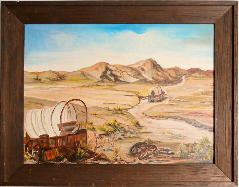 """Painting/ """" Busted, Left To The Coyotes Of Death Valley"""" / By June Sandbakken.   (105406)"""