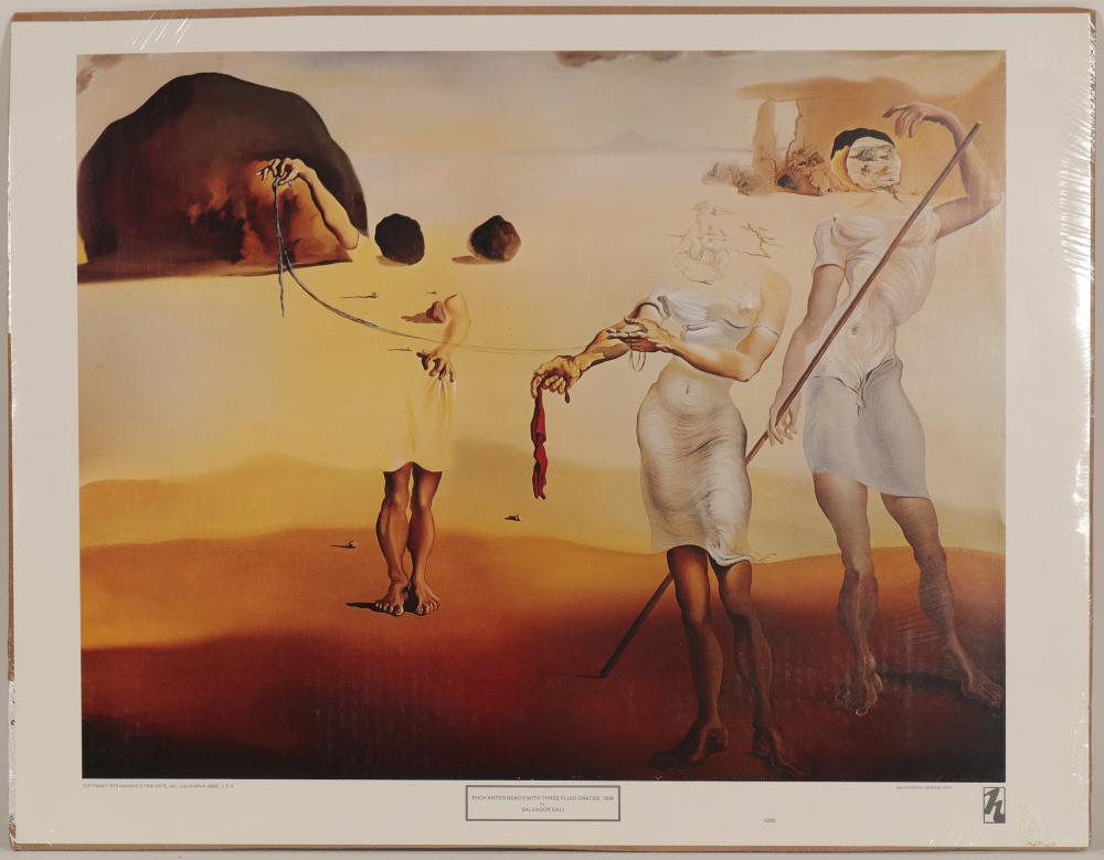 "Lot 1042: Print / "" Enchanted Beach With Three Fluid Graces-1938 / By Salvador Dali (105371)"