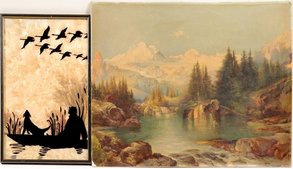 Lot 1045: Photo & Silhouette / Mountains & Hunting / 2 Items. (105390)