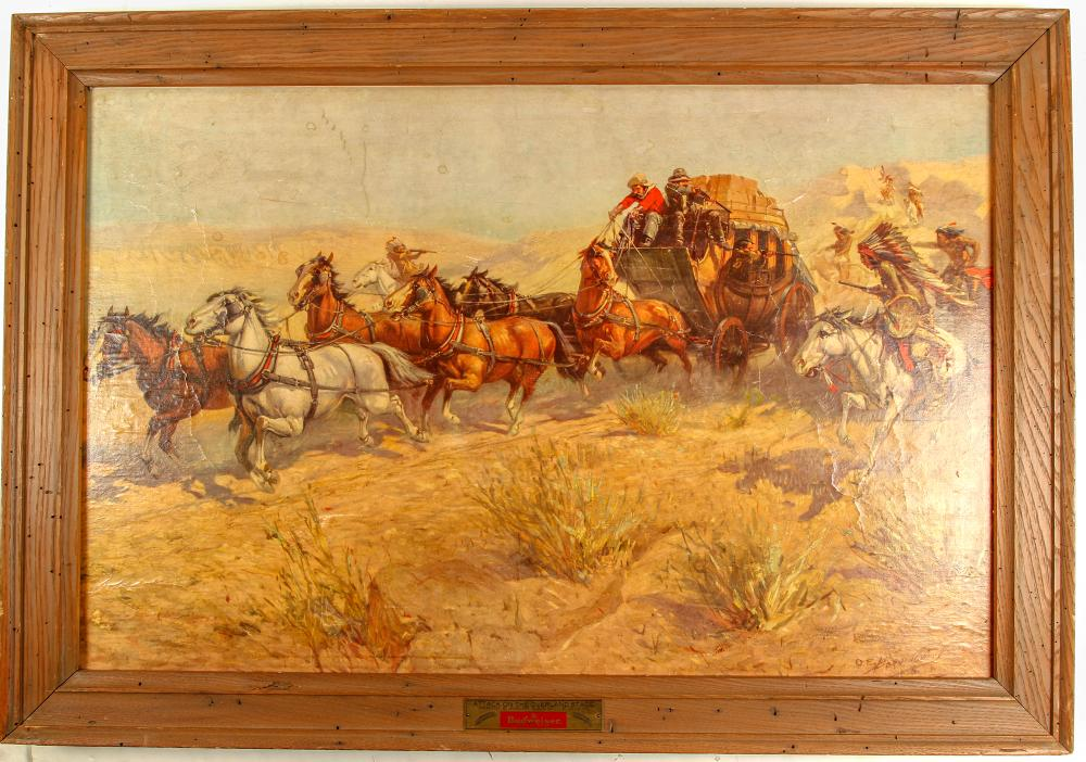 "Lot 1055: ""Attack on the Overland Stage"" Print (86802)"