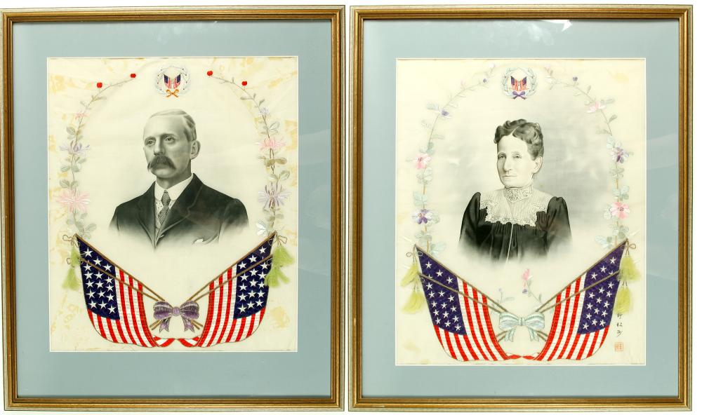 Lot 1058: American Couple Silk Needlepoint and Portrait Prints (2) (87100)