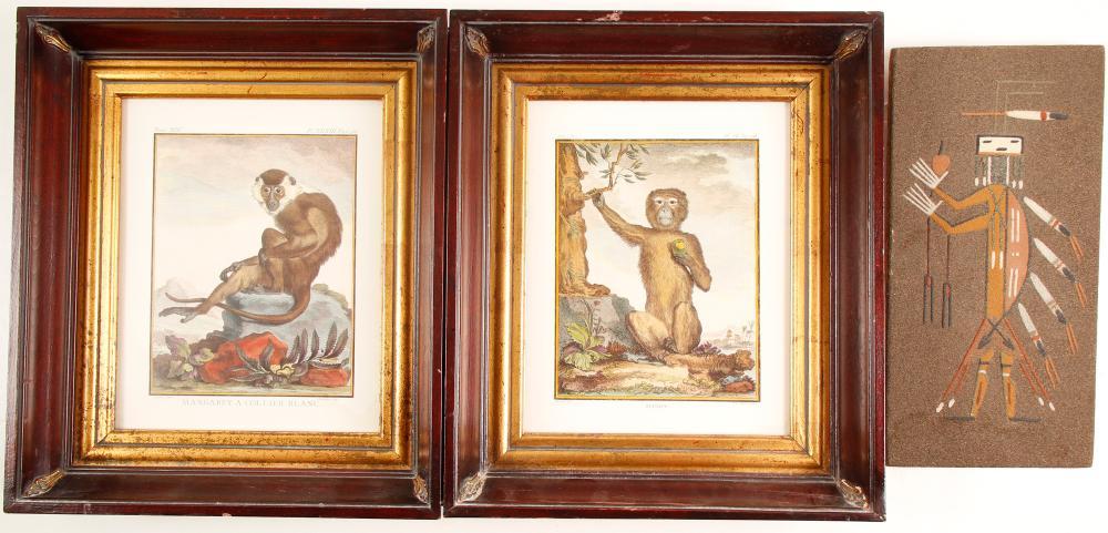 Navajo Sand Painting & 2 Framed Art Monkey Prints   (86854)