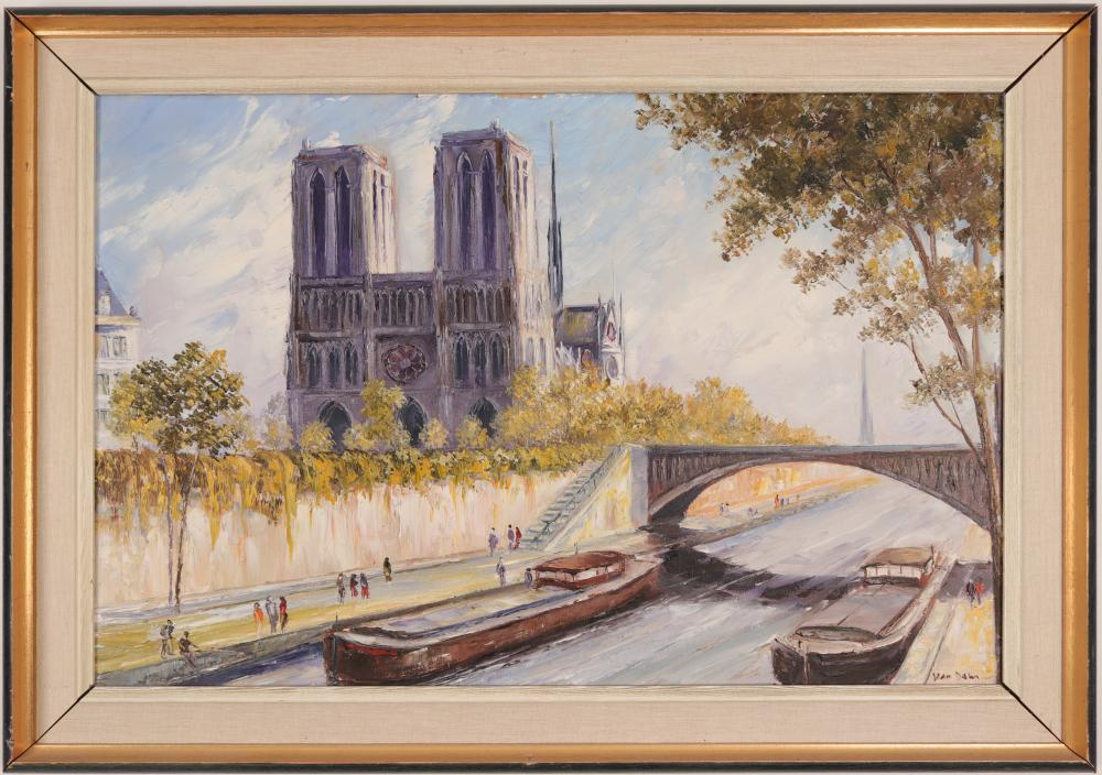 Lot 1074: Notre Dame Painting by Van Dam (54857)