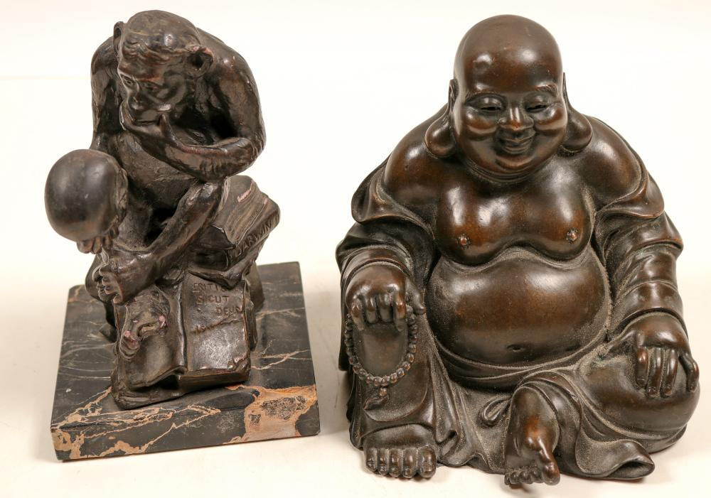 "Statues of ""Darwin's Monkey"" & Buddha by Bronze Masters   (105458)"