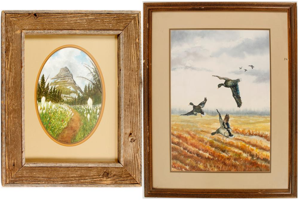 Scenic Watercolors of a Meadow and Ducks (2)   (56805)