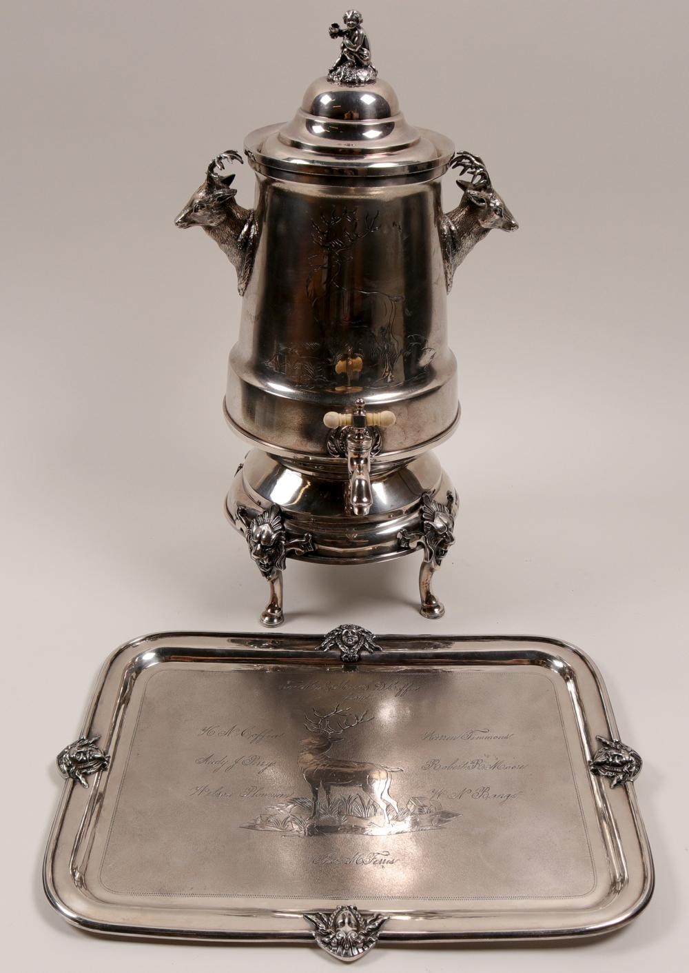Silver Engraved Coffee Urn with Matching Tray   (106385)