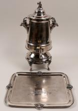Lot 1093: Silver Engraved Coffee Urn with Matching Tray (106385)