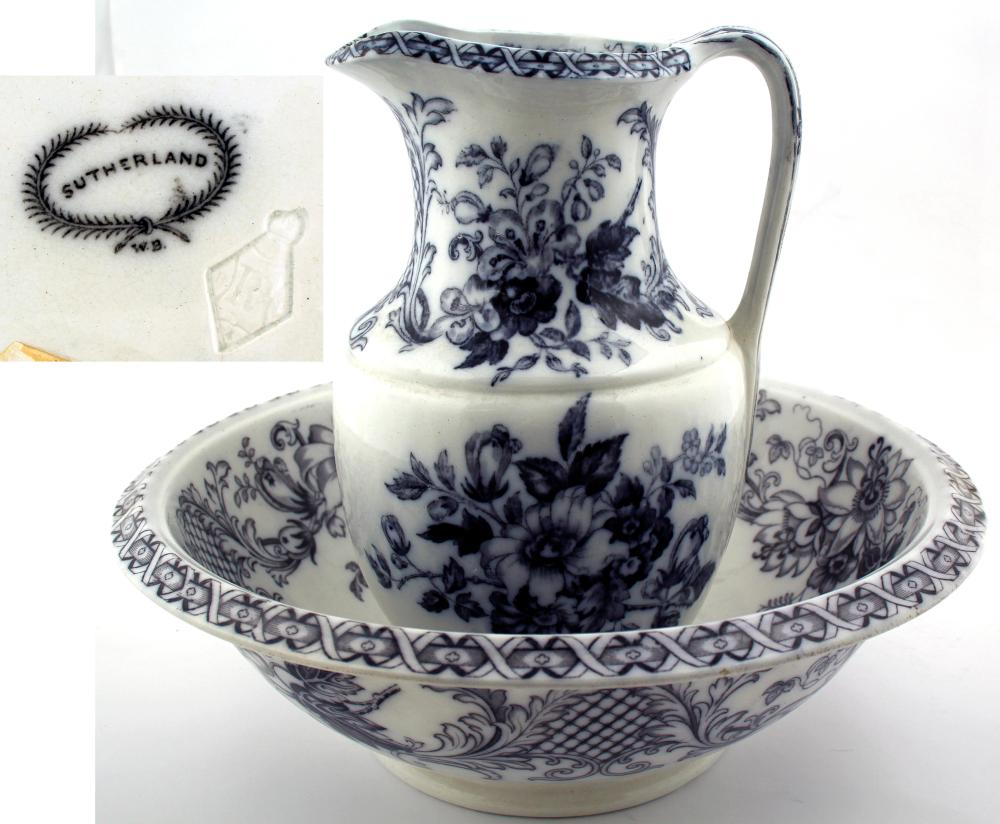 Lot 1103: Sutherland Pitcher and Bowl (50529)
