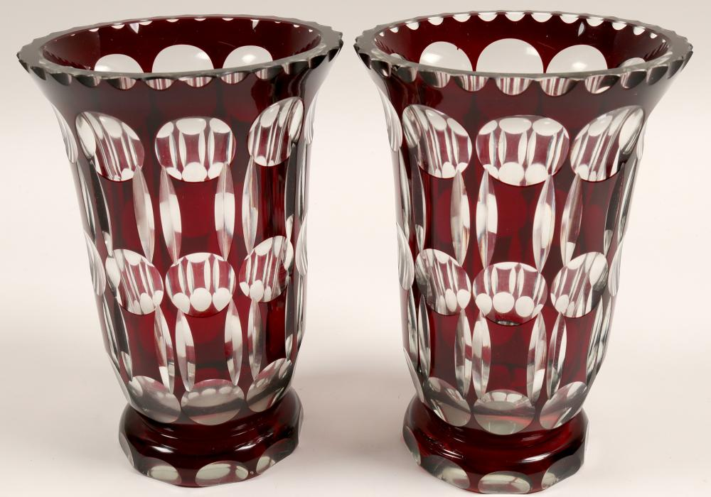 Crystal Vases (Matched Pair)   (105325)