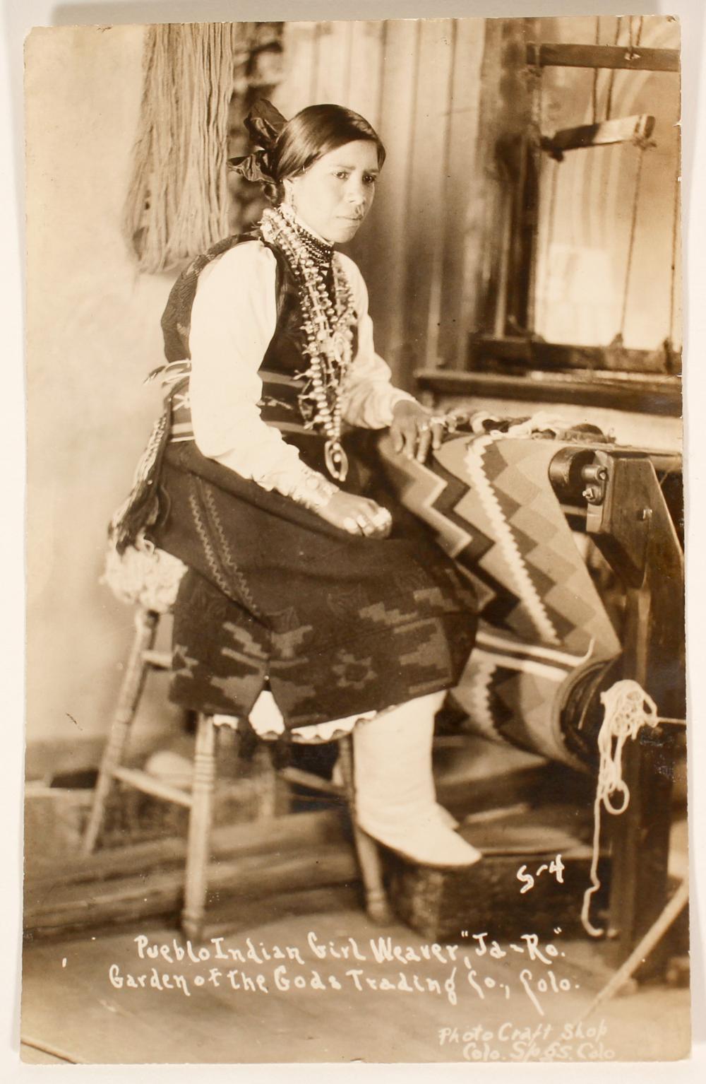 Lot 1135: Pueblo Indian Girl Weaver RPC (100530)