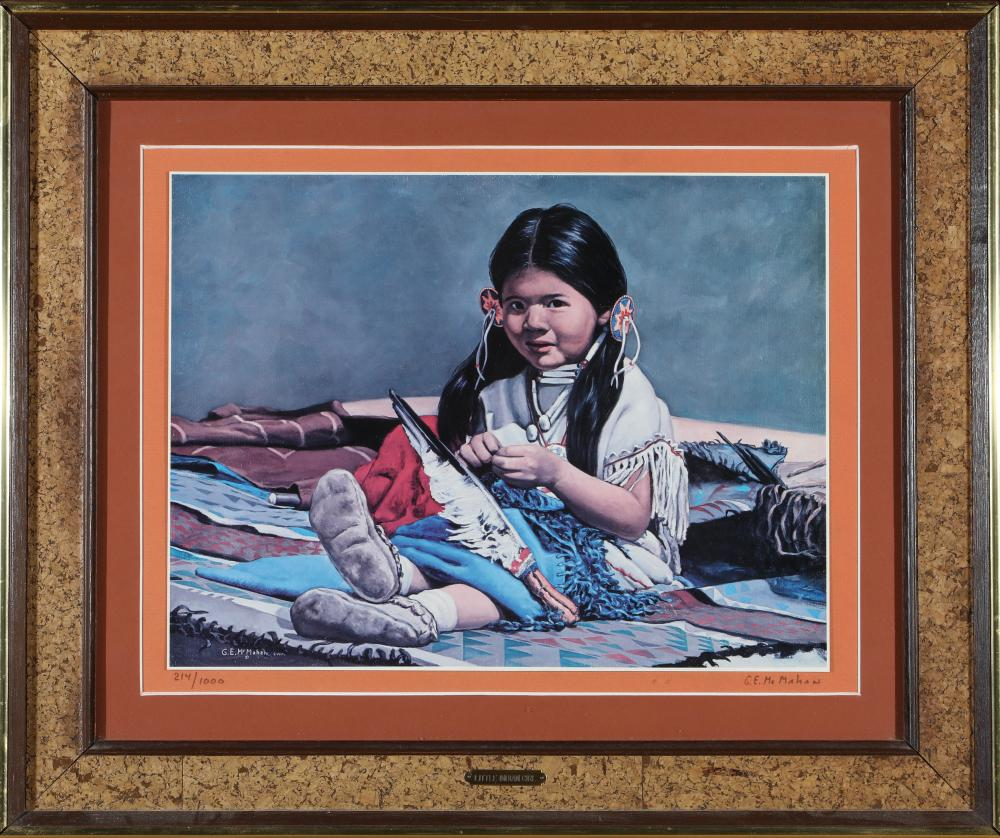 "Lot 1147: Framed ""Little Indian Girl"" Print by McMahan (87647)"