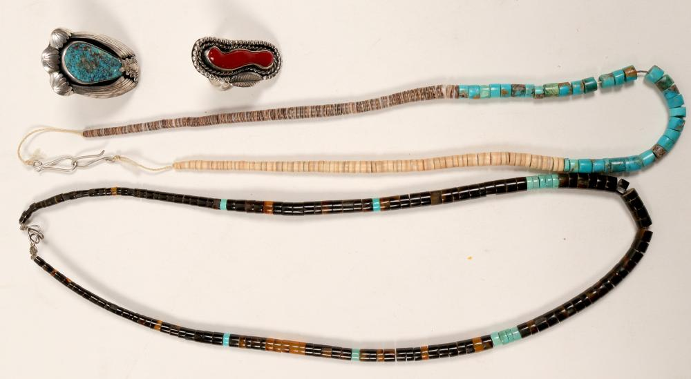 Lot 1159: Native Amereican Heishi Necklaces & Rings / 4 pieces (105417)