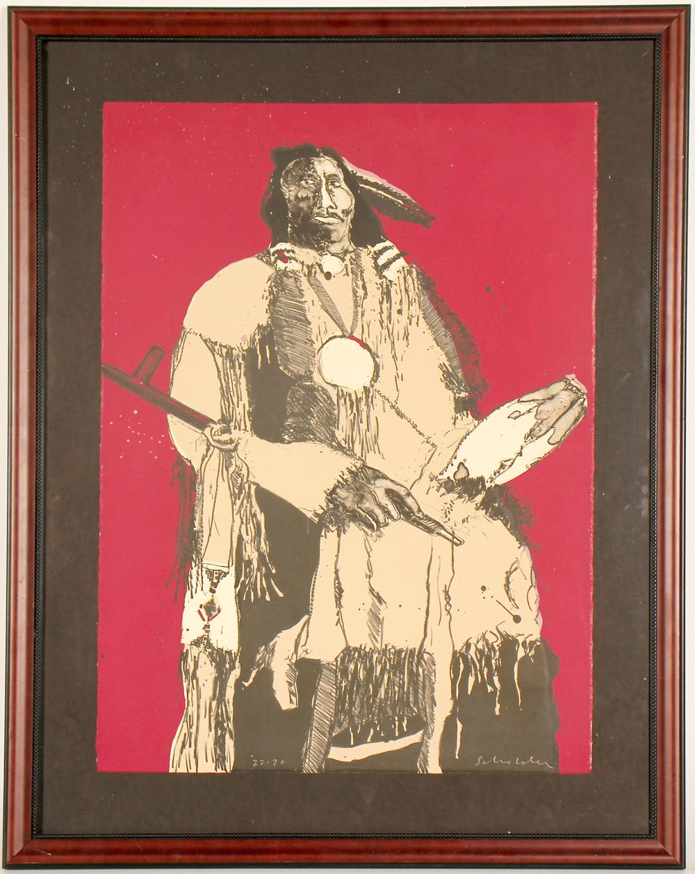 Buckskin Indian State II - Litho by Fritz Scholder   (101009)