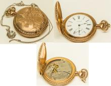 Waltham Gold Watch with Diamond on Chain