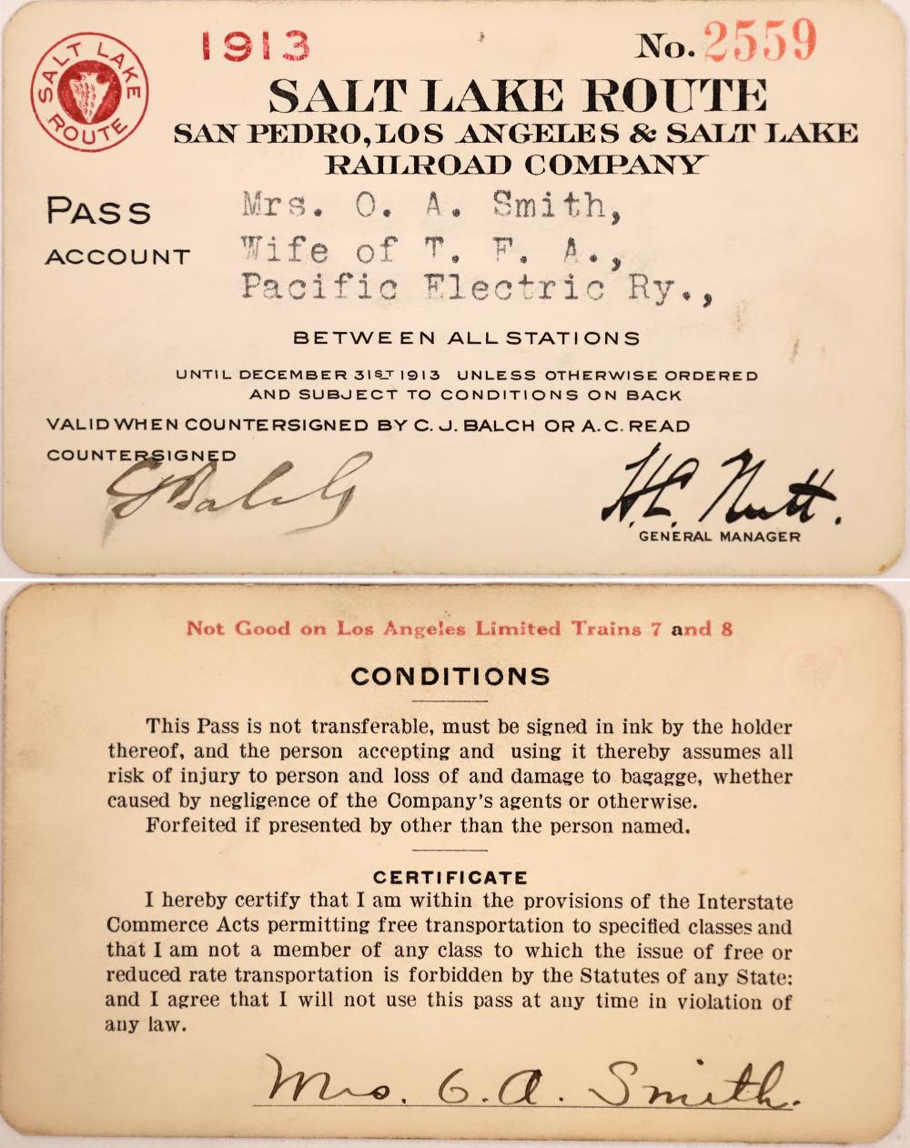 RR Pass - San Pedro, Los Angeles & Salt Lake RR Co [138594]