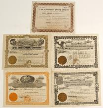 Five Warren District Stock Certificates