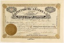 Pittsburg Arizona Gold & Copper Company Stock Certificate