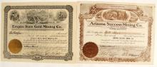 Two San Simon District Mining Stock Certificates