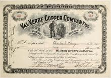 Val Verde Copper Company Ltd. Stock Certificate