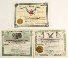 Three Striking Kingman District Stock Certificates