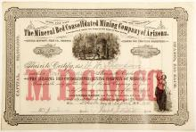 Mineral Bed Consolidated Mining Company of Arizona Stock Certificate