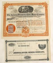 Arizona Butte Mining Company  and Arizona Prosperity Gold Mines Company  Stock Certificate