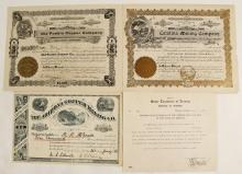 Three Amole District, Arizona Mining Stock Certificates