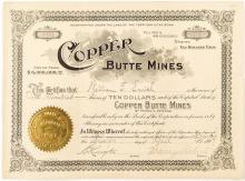 Copper Butte Mines Stock Certificate