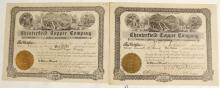 Chesterfield Copper Company Stock Certificates