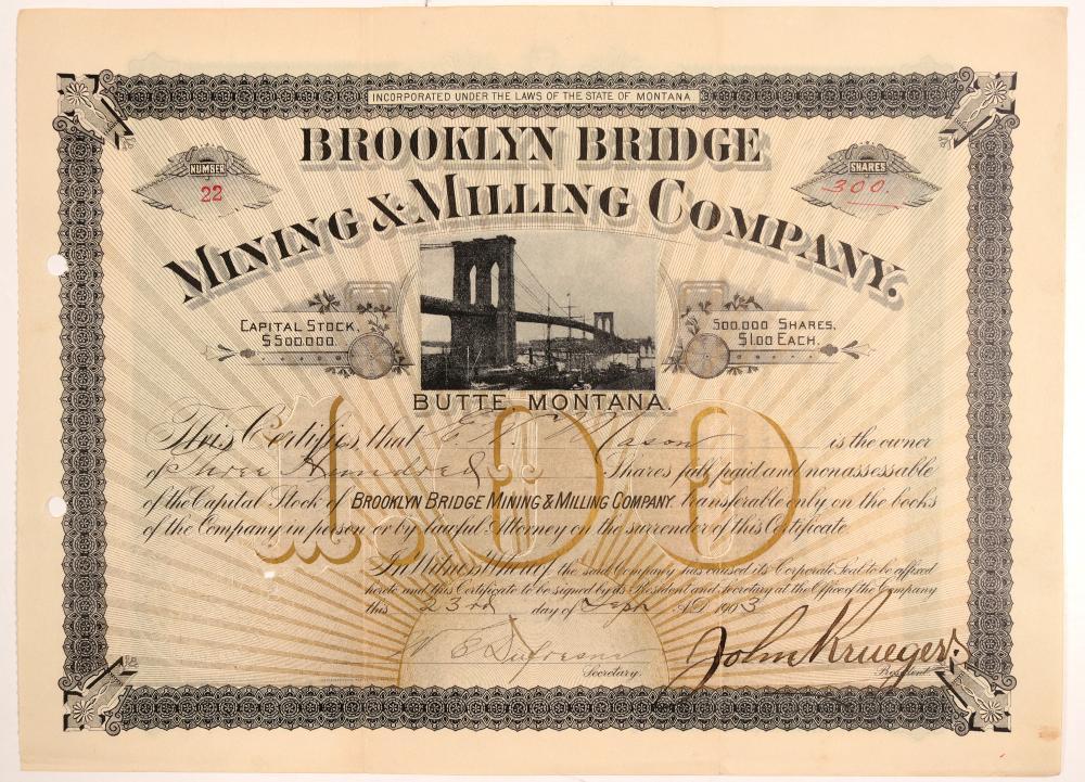 Brooklyn Mining Company Stock Certificate