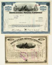 Homestake Mining Company Stock Certificate Pair