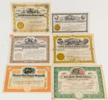 Six Different Pictorial Utah Mining Stock Certificates