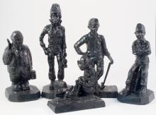 Five Different Hand Carved Wood Sculptures of Mining Figures