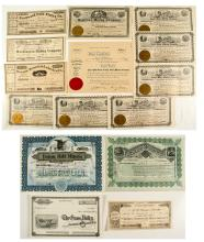 Lot of 14 Nevada County Stock Certificates