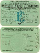 Brotherhood of Locomotive Engineers Traveling Card