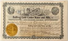 Bullfrog Gold Center Water and Mills, LTD. Stock Certificate