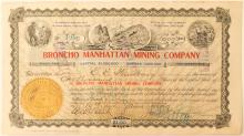 Bronco Manhattan Mining Company Stock Certificate