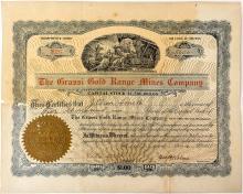 Grassi Gold Range Mines Company Stock Certificate