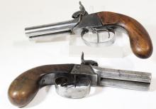 Pair of Mid-19th Century Double Barrel Belt Pistols