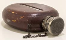 Rare Leather Covered Whiskey Flask